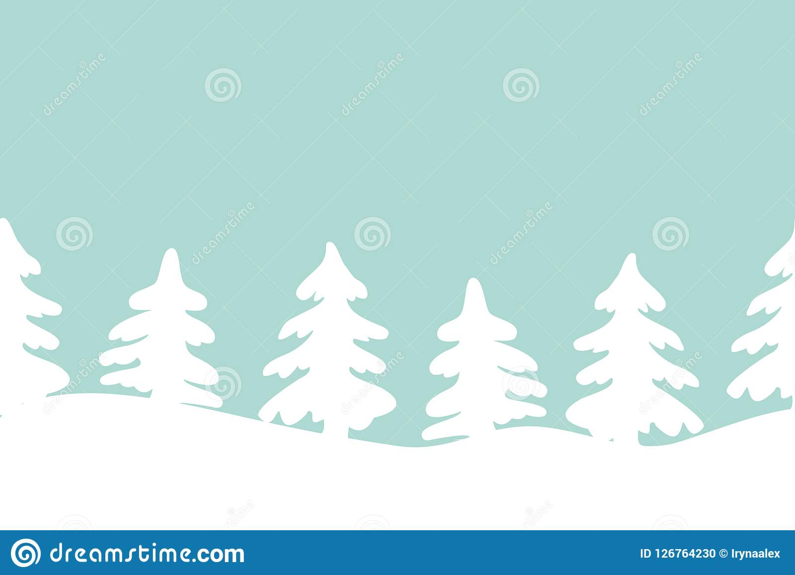 Christmas Trees Silhouette.Silhouettes Of Christmas Trees On A Blue Background