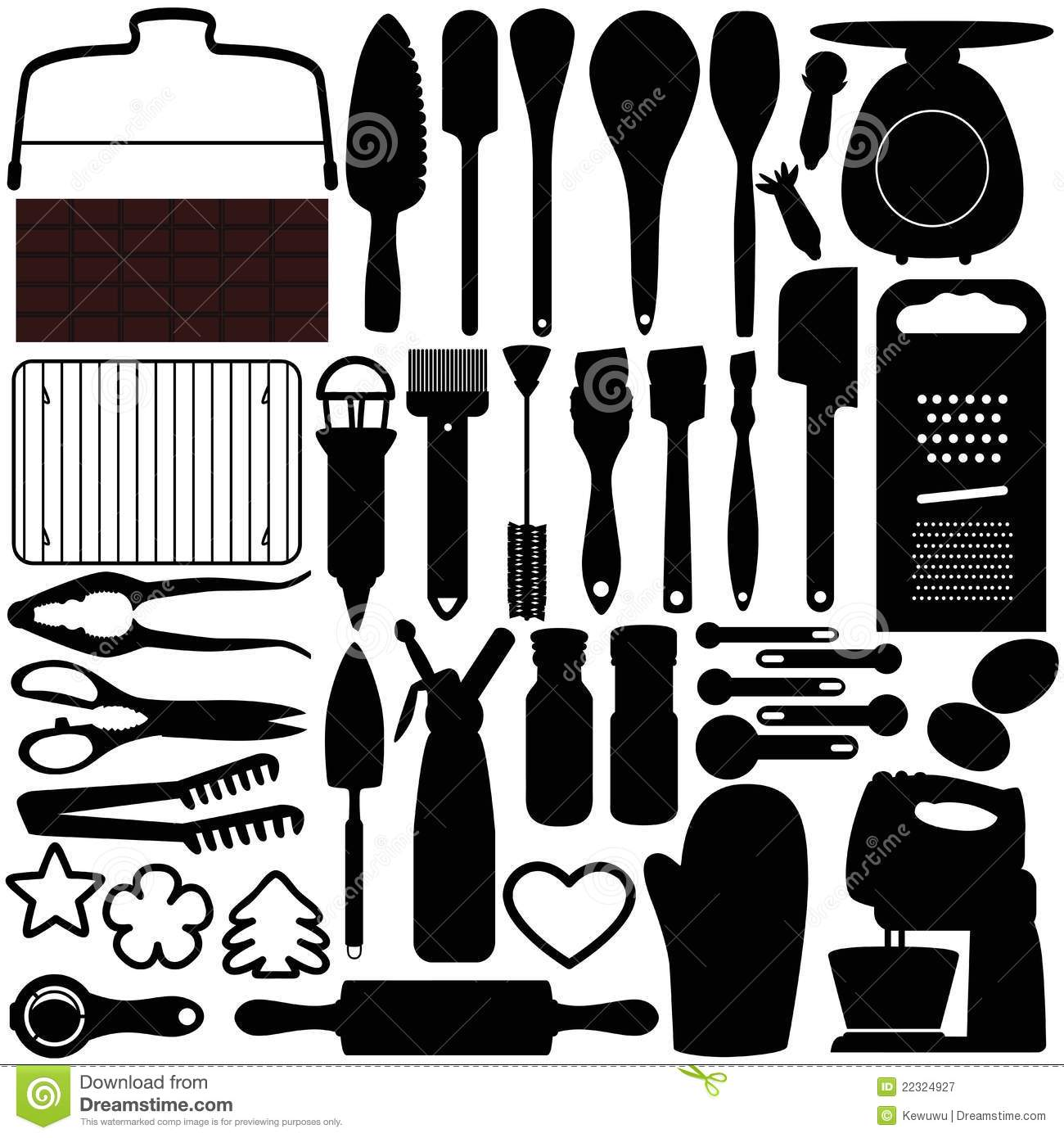 Silhouettes Of Cooking, Baking Tools Royalty Free Stock
