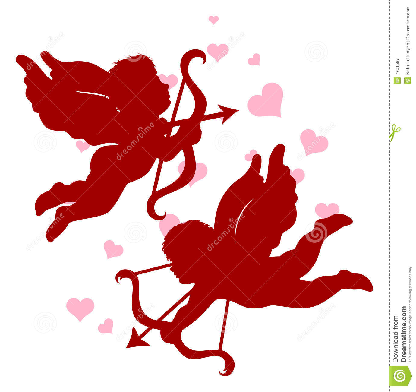 silhouettes of cupid for valentine s day