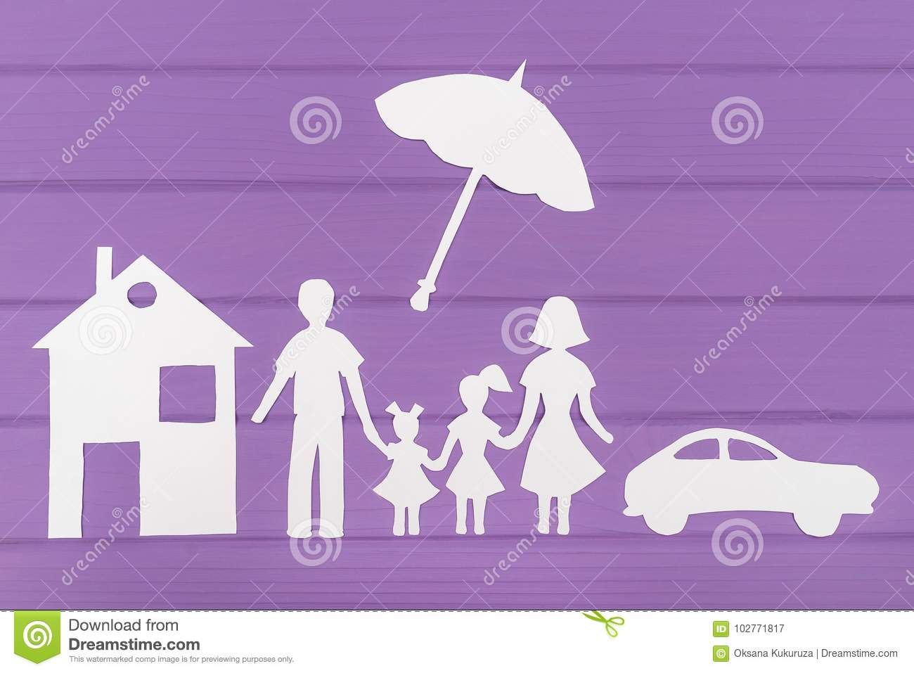 The Silhouettes Cut Out Of Paper Man And Woman With Two Girls Under Umbrella House Car Near On Purple Wooden Background