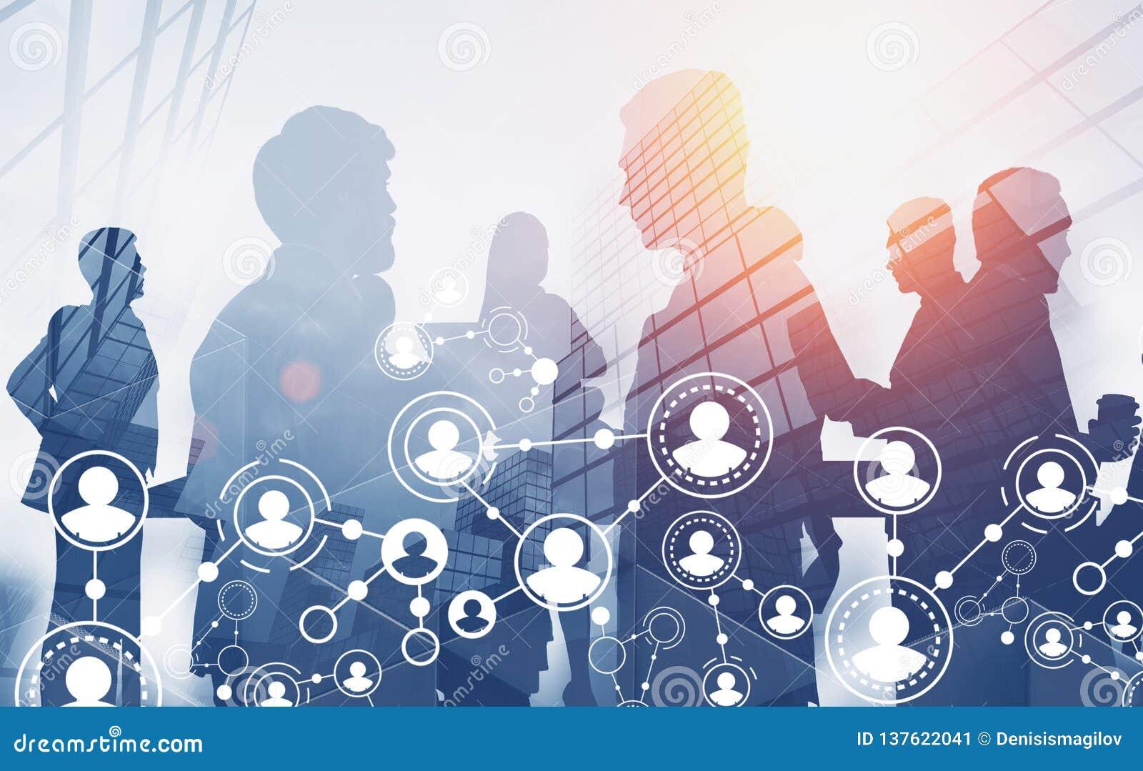 Silhouettes d équipe d affaires, interface de personnes
