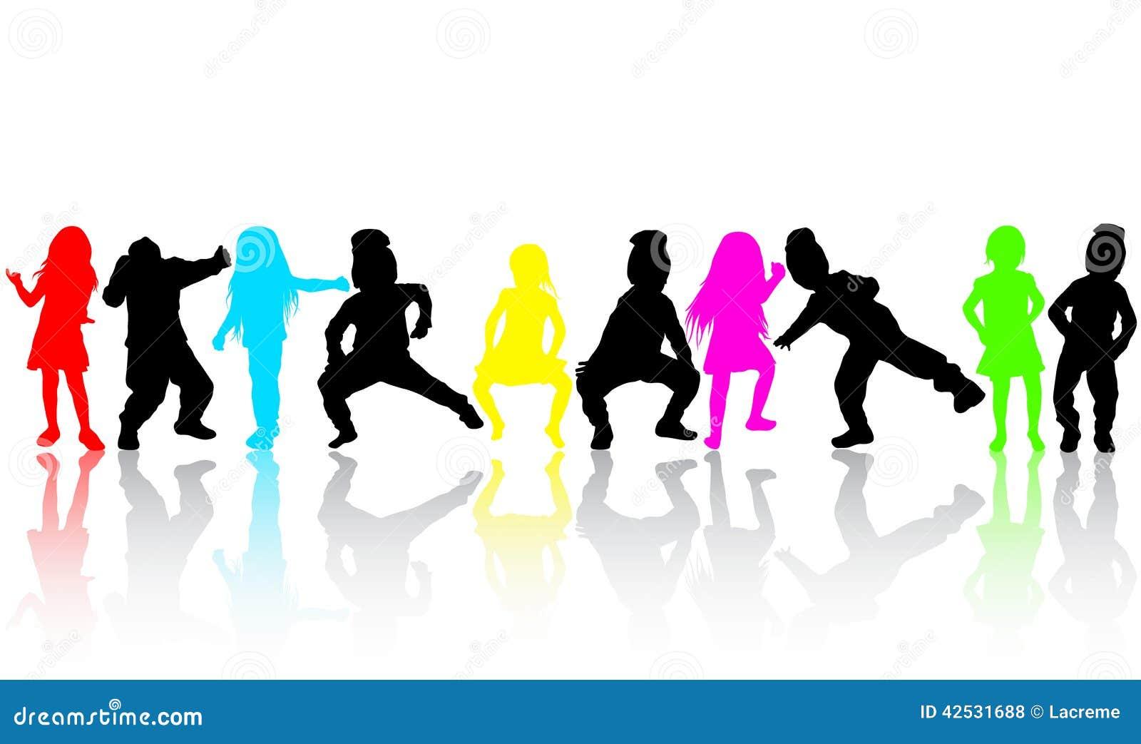 Silhouettes d 39 enfants de danse illustration de vecteur for Musique barre danse classique gratuite