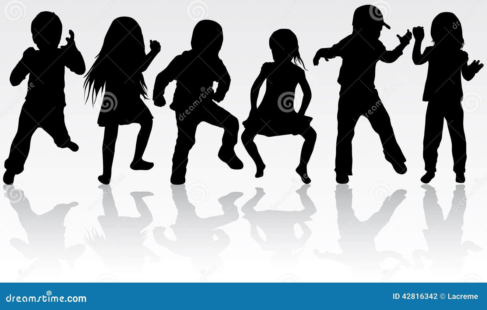Silhouettes D'enfants De Danse Illustration de Vecteur ...