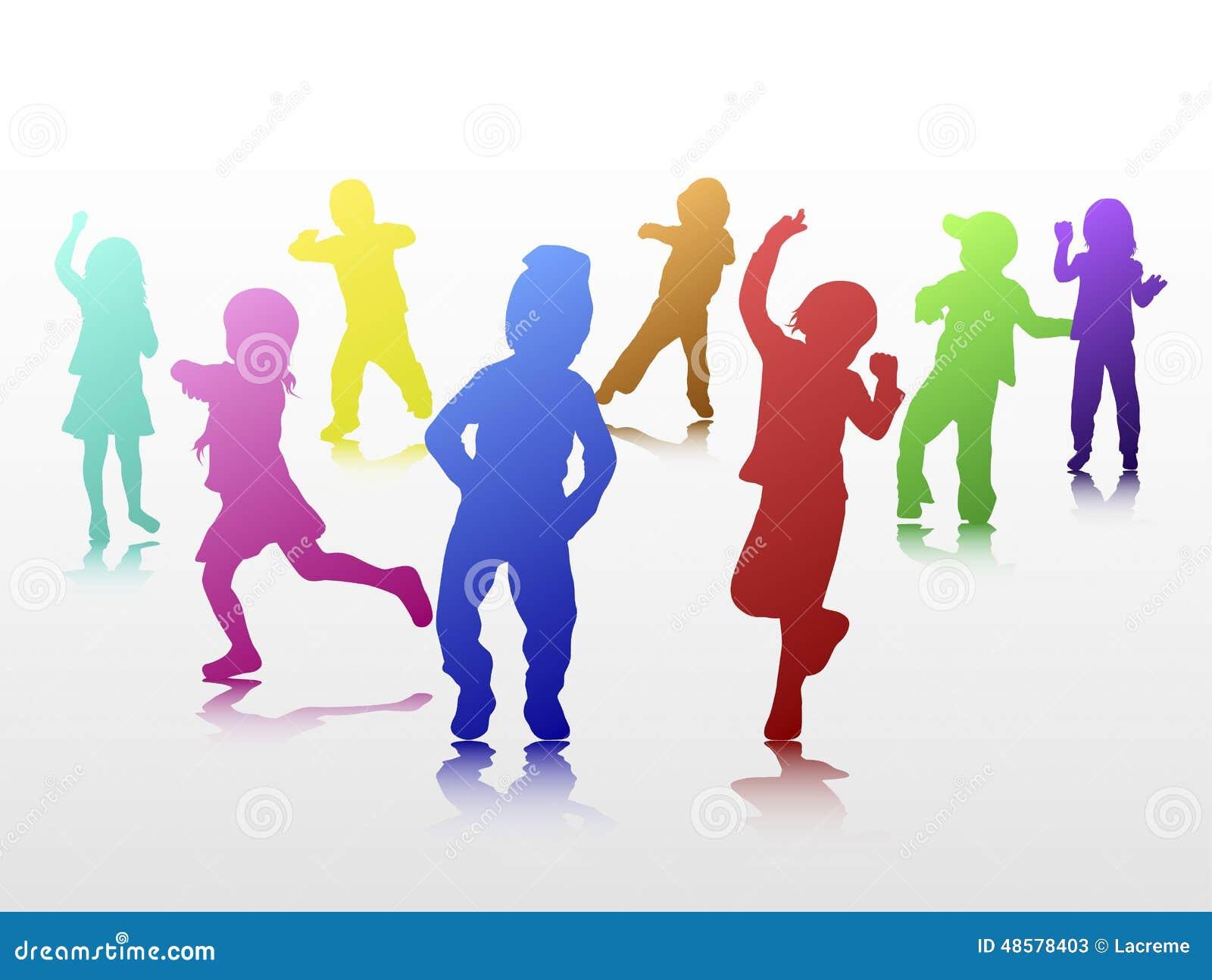 Silhouettes D Enfants De Danse Illustration De Vecteur