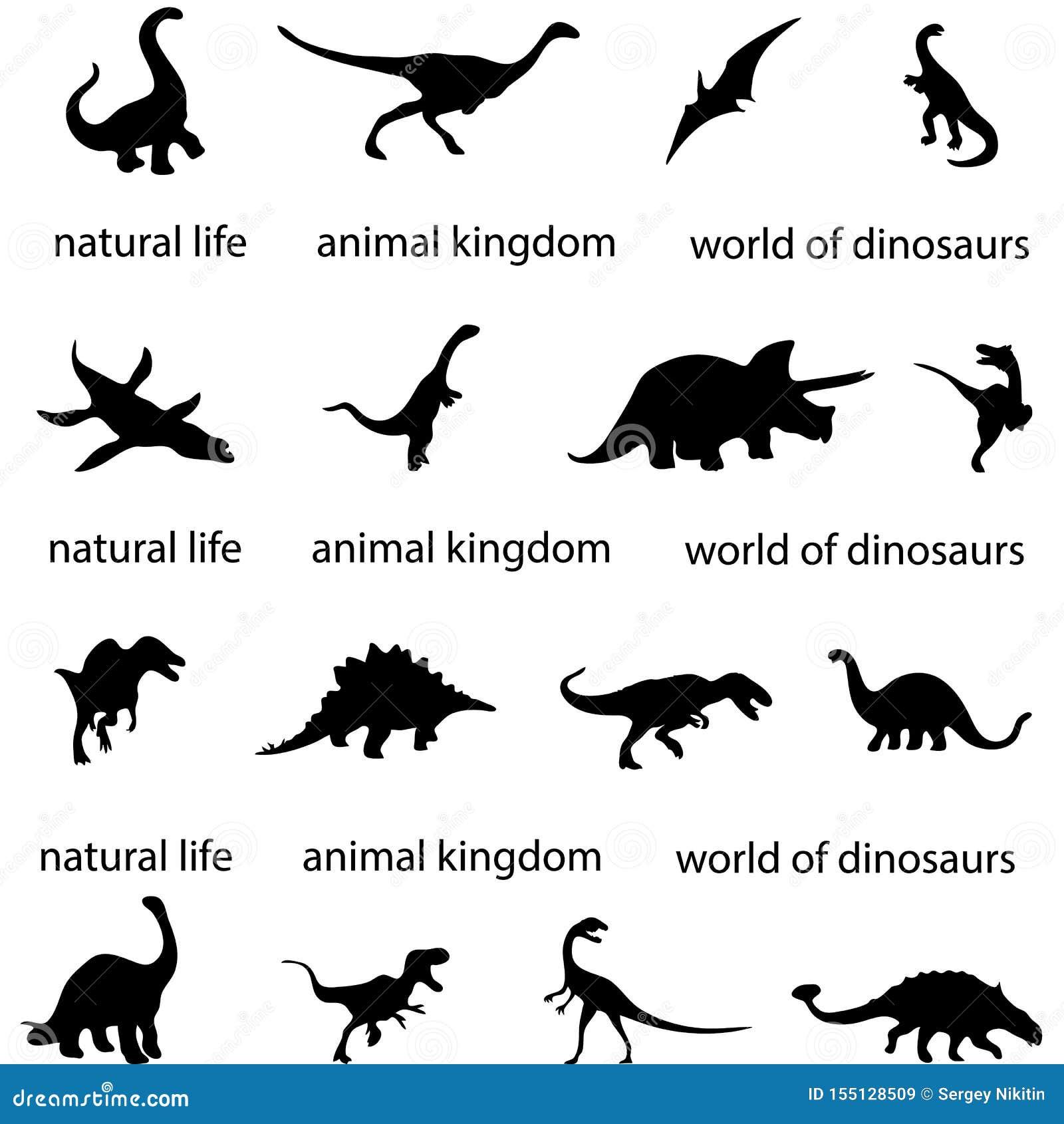 Silhouettes d ombre antique de dinosaure d ère de dinosaure carnivore d archéologie du monde d histoire prédatrice de paléontolog