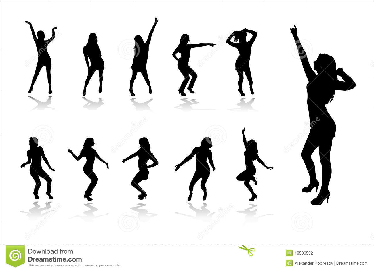 Silhouettes Of Dancing Girls Stock Photography - Image: 18509532