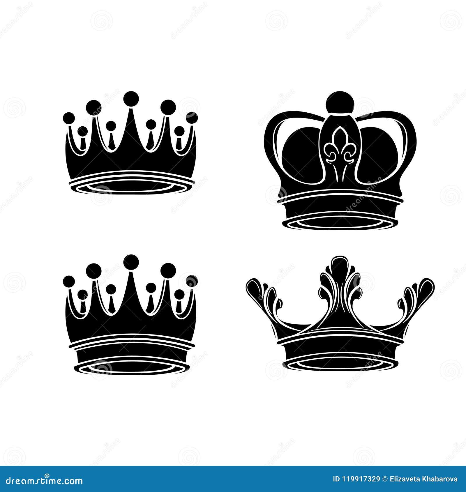 Silhouettes de couronne réglées Collection royale de signe Roi, symboles de reine Vecteur