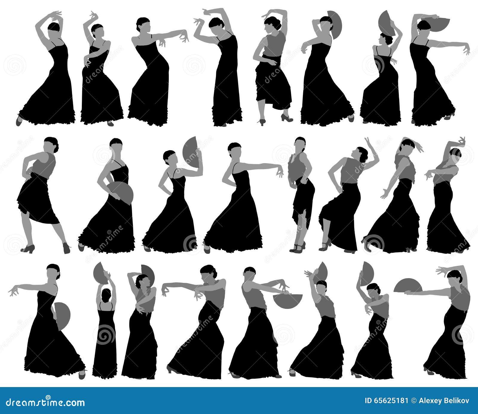 Silhouettes de danseur féminin de flamenco