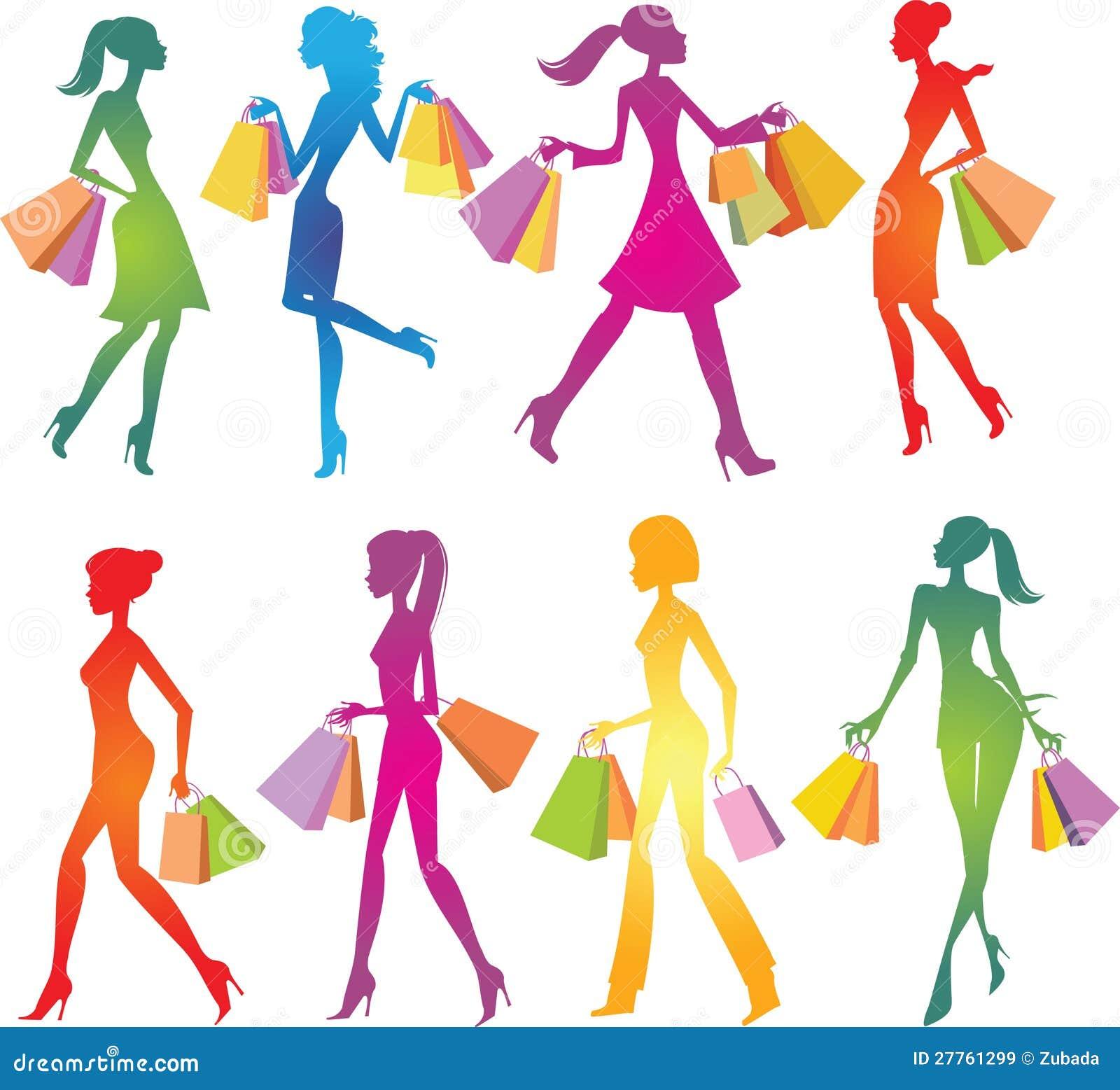 Silhouettes de filles d achats