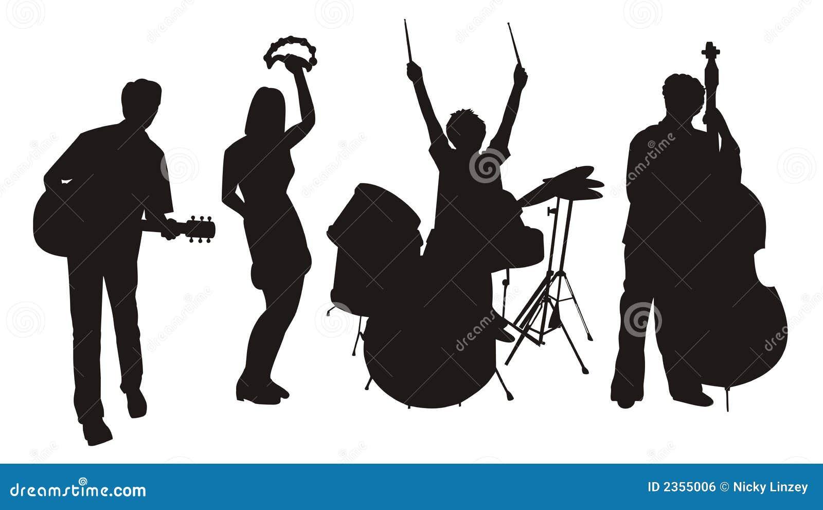 Silhouettes de musicien image libre de droits image 2355006 - Dessin musicien ...