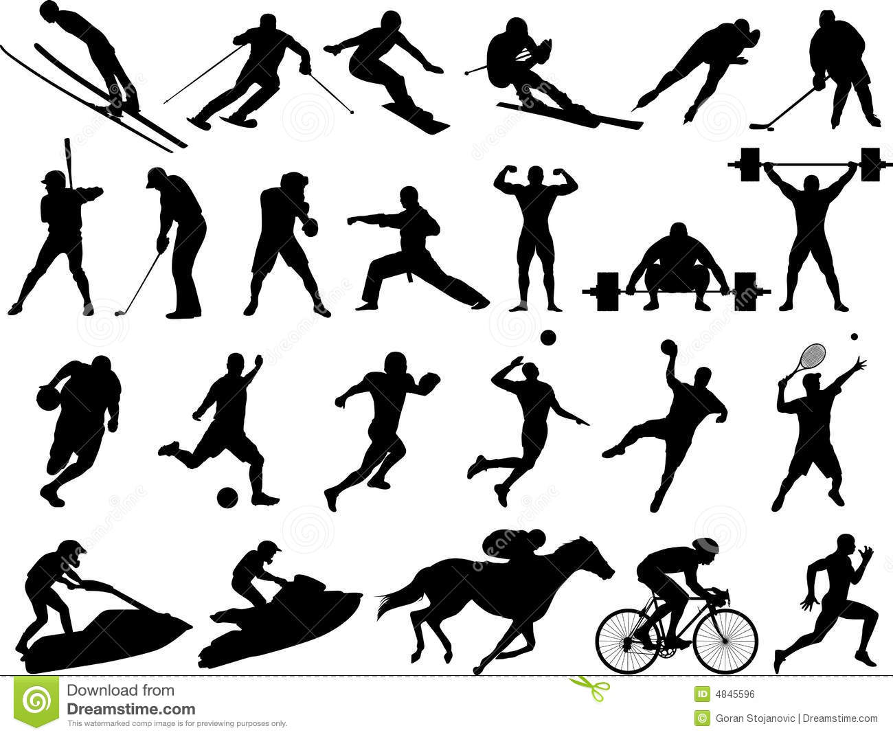 Dynamic Sports Figures Silhouette: Silhouettes De Sport De Vecteur Illustration De Vecteur