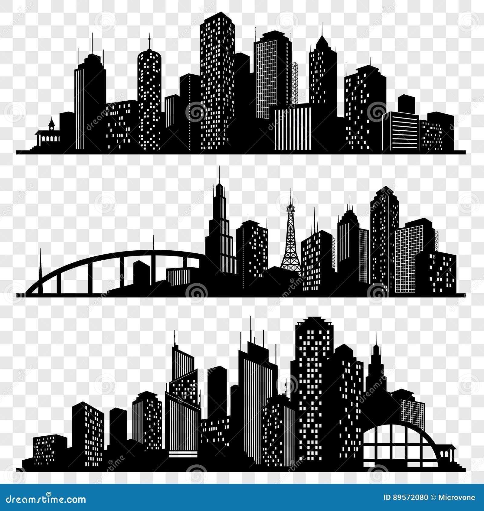Silhouettes de vecteur de bâtiment de ville, horizons urbains de vecteur réglés