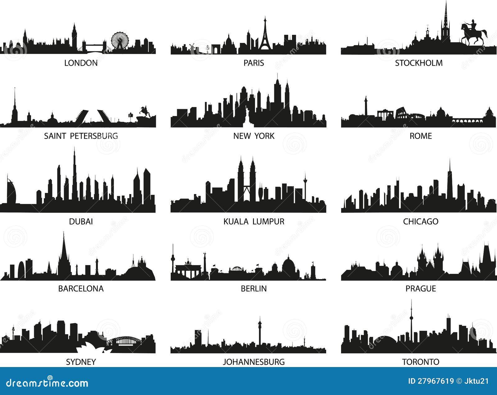 Silhouettes de vecteur des horizons de ville