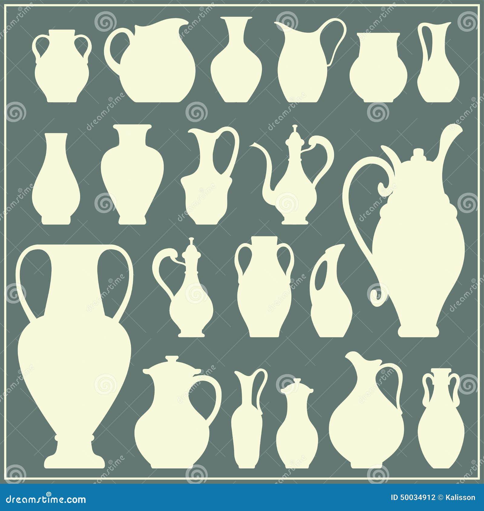 Silhouettes de vecteur des vases Ensemble d isolement de vaisselle