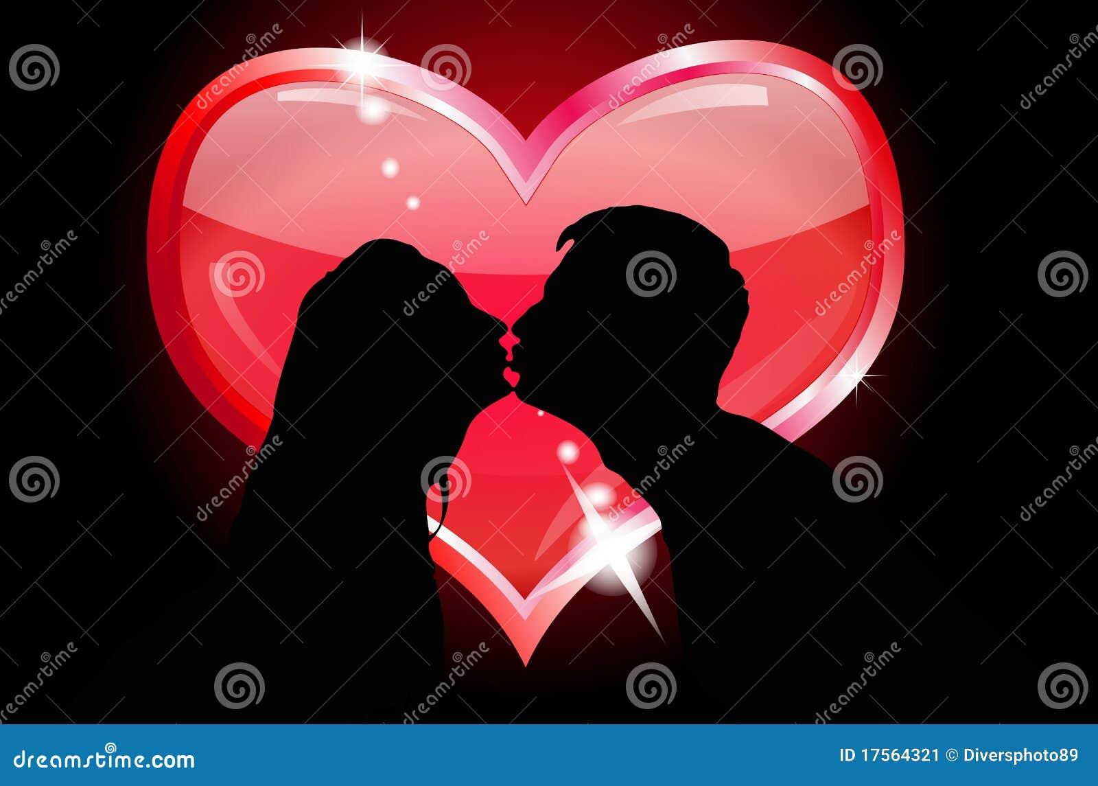 Baiser Amoureux silhouettes des baisers d'amoureux illustration de vecteur