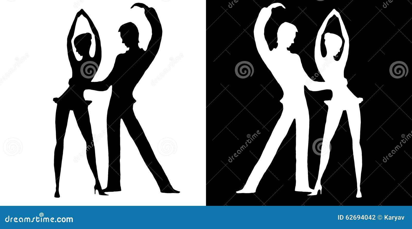 Silhouettes des danseurs sur le blanc et sur un fond noir for Le noir et le blanc