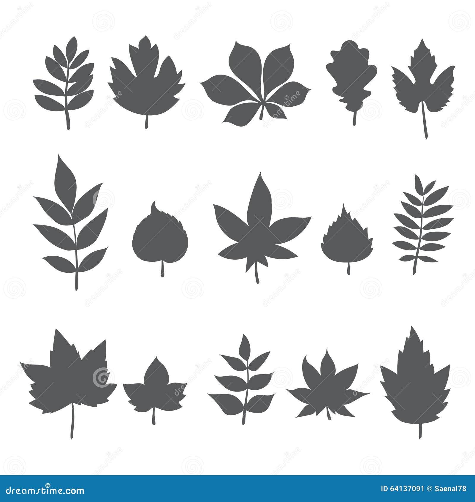 silhouettes des feuilles d 39 arbre autumn leaf collection. Black Bedroom Furniture Sets. Home Design Ideas