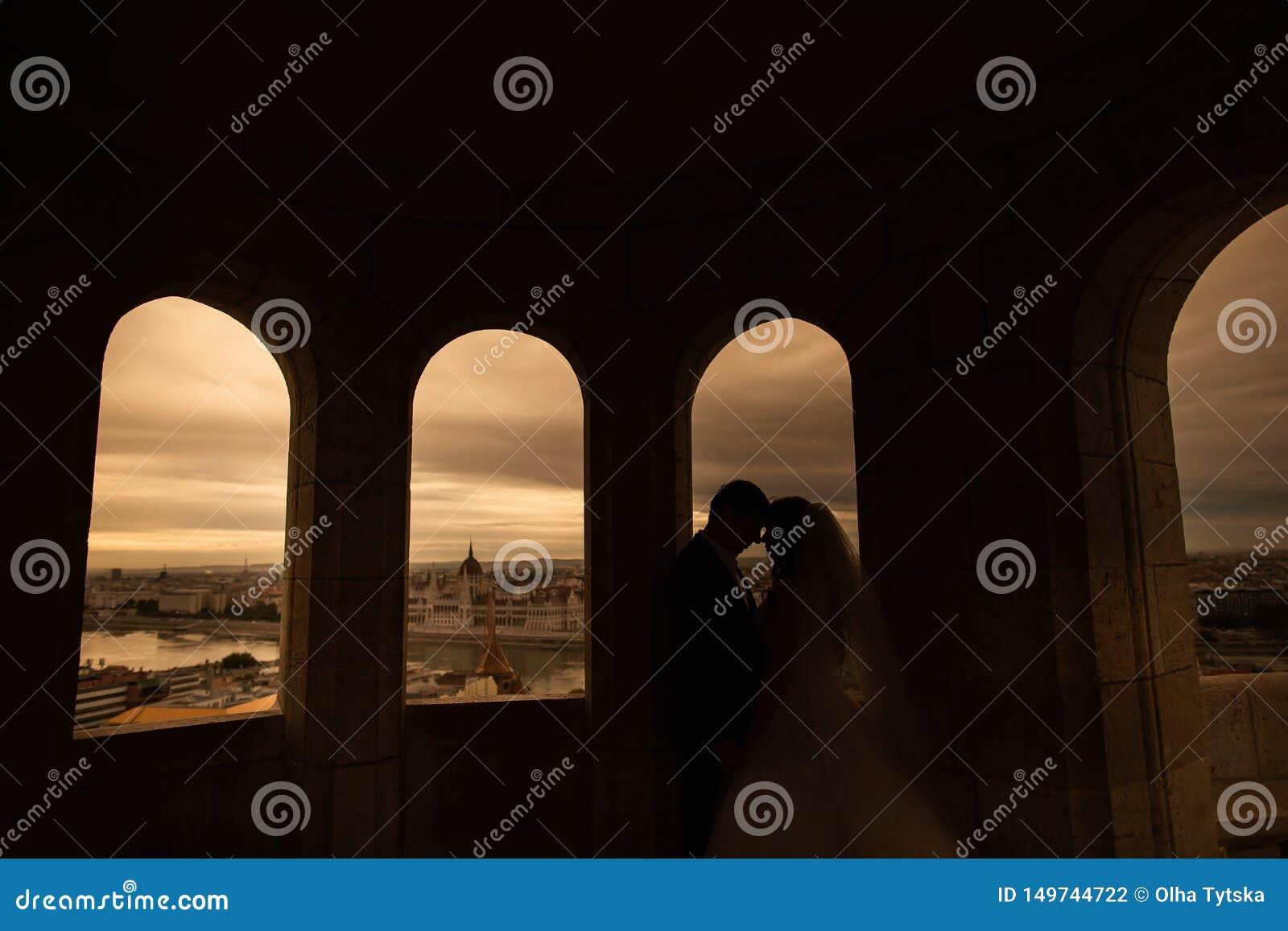 Silhouettes des jeunes mari?s se tenant sur le fond de ville de nuit et regardant tendrement l un l autre le coucher du soleil