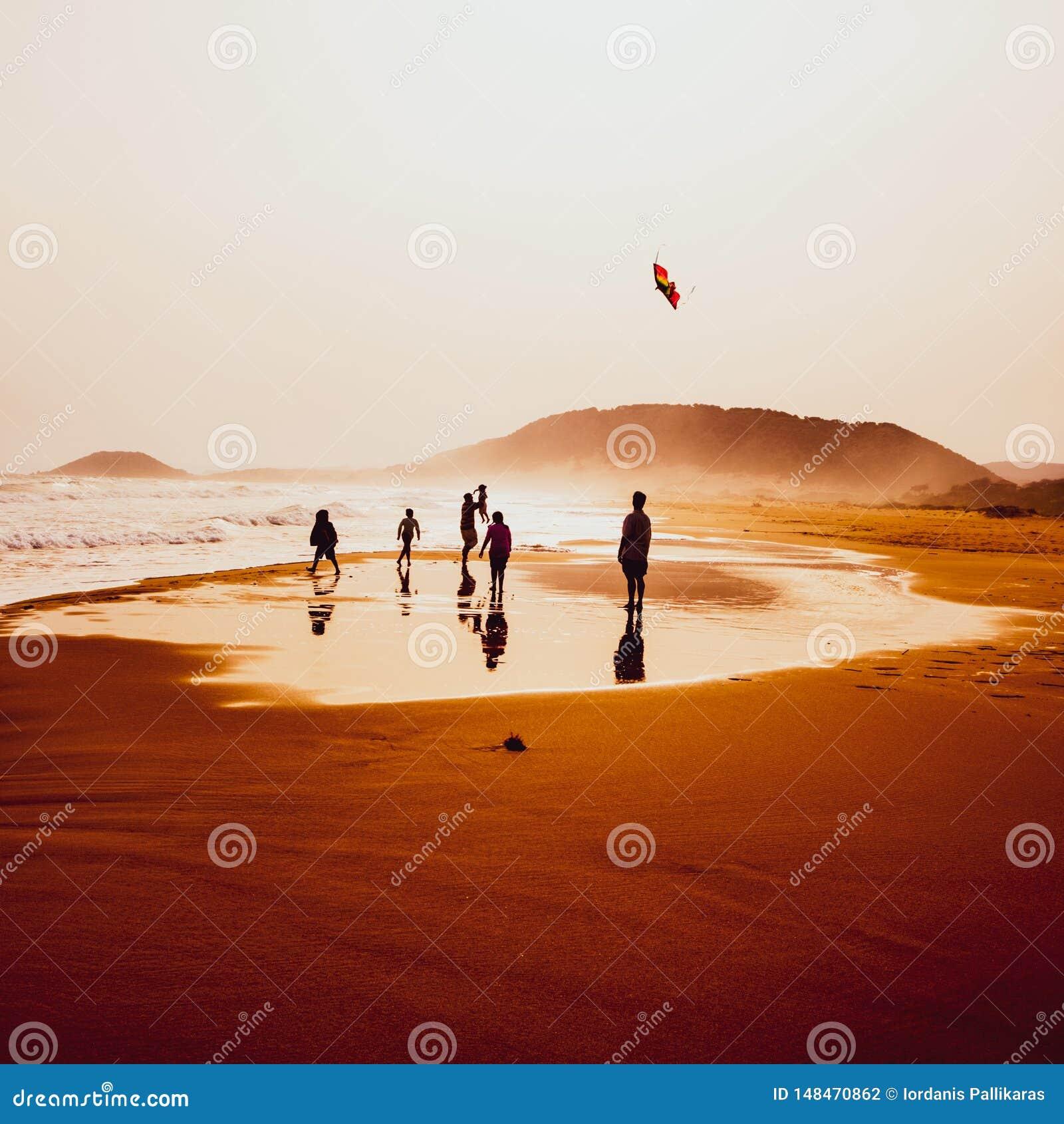 Silhouettes du jeu et du vol de personnes un cerf-volant en plage d or ar?nac?e, Karpasia, Chypre