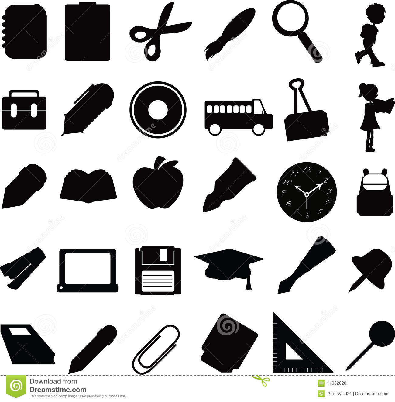 Silhouettes Education Icons Stock Vector - Illustration ...
