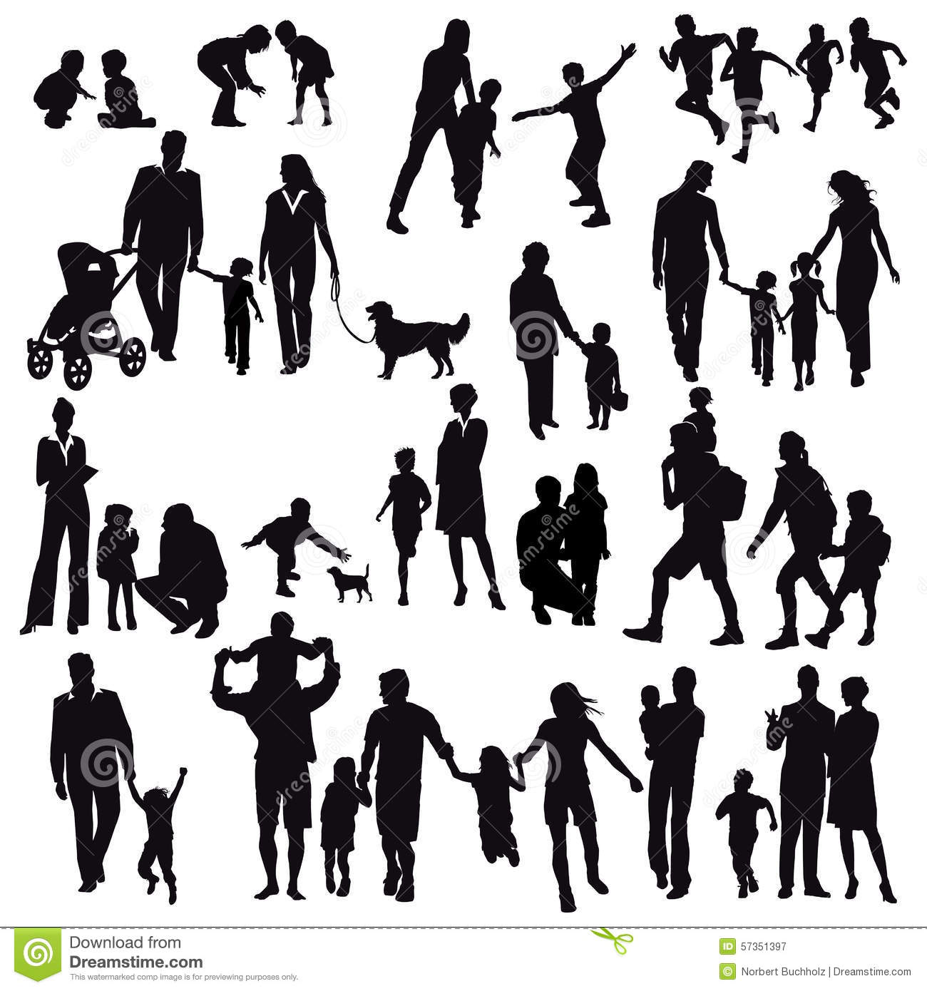 Silhouettes of family life stock vector image 57351397 for Signification chiffre 13