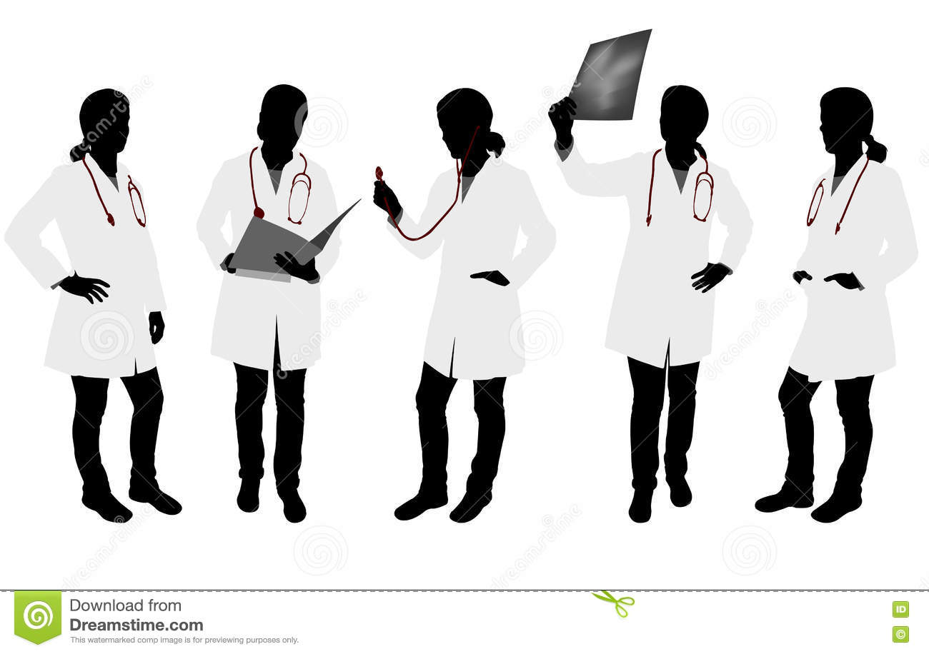 silhouettes of female doctor vector illustration