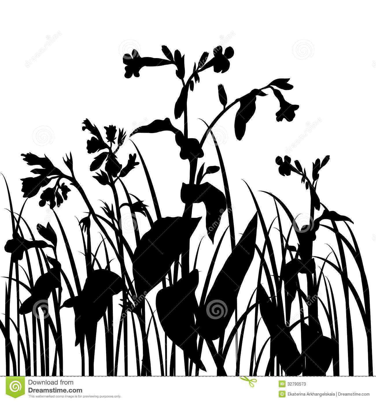 Silhouettes Of Flowers And Grass Stock Vector - Illustration of ...