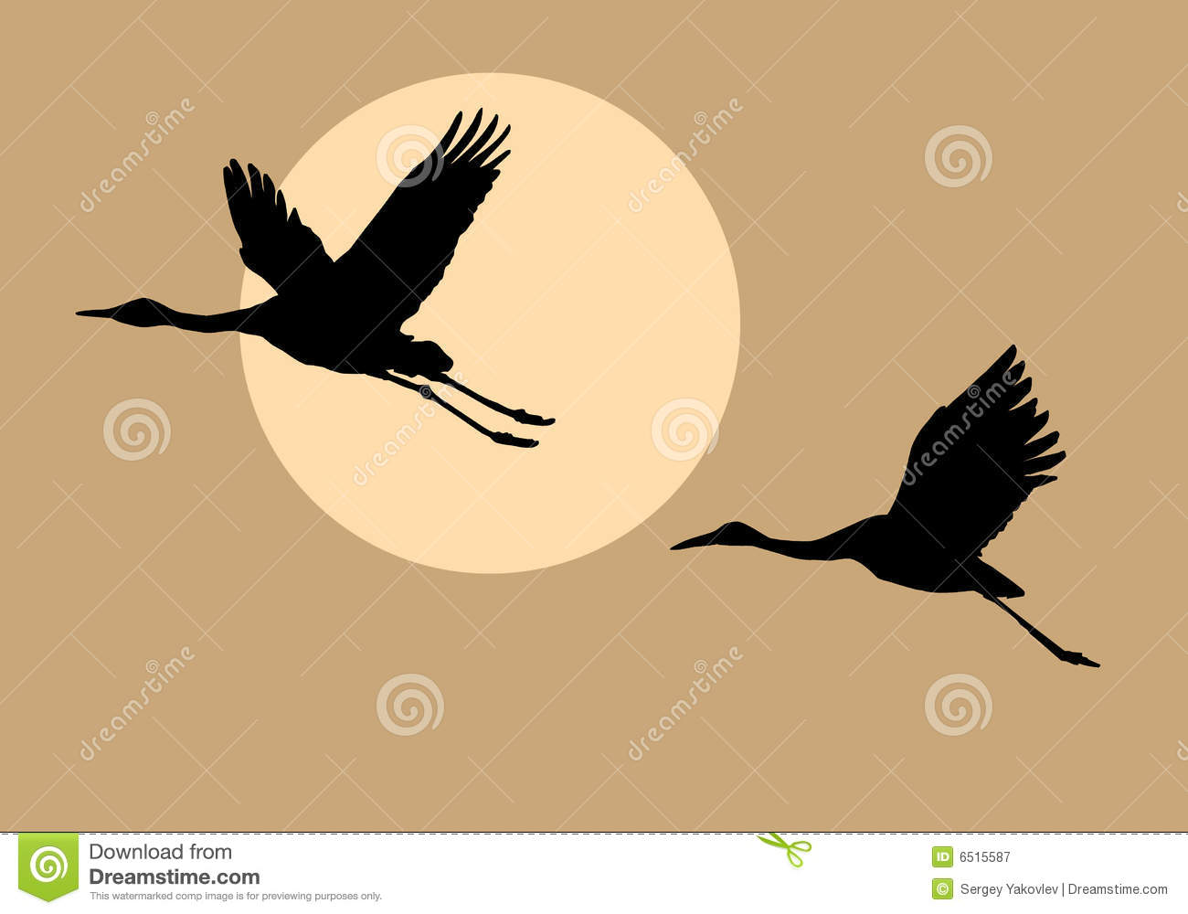 Silhouettes Flying Cranes Royalty Free Stock Photography Image