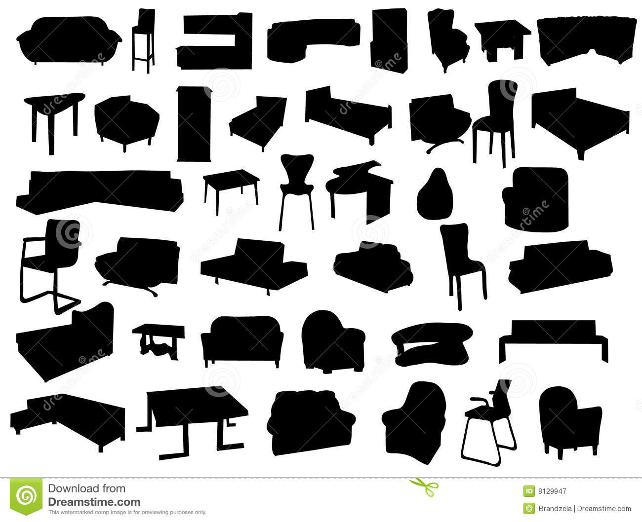Antique chair silhouette - Antique Chair And Table Vector Silhouettes Of Forniture Royalty Free Stock Photography