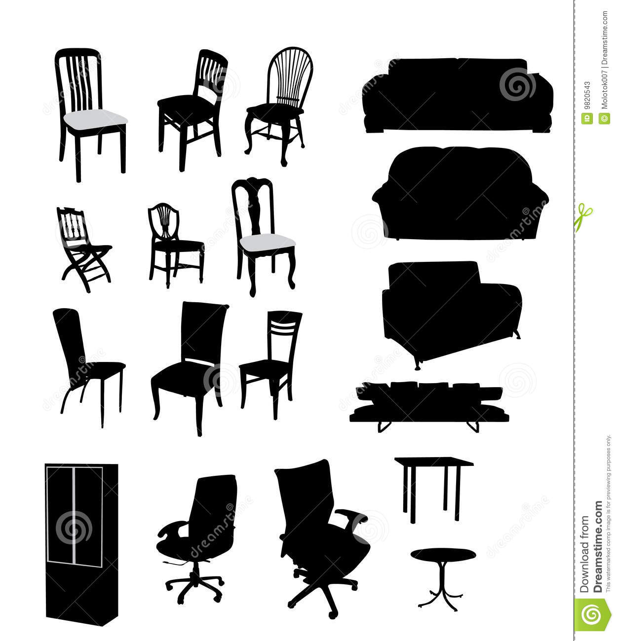 Silhouettes Of Furniture Stock Photos Image 9820543