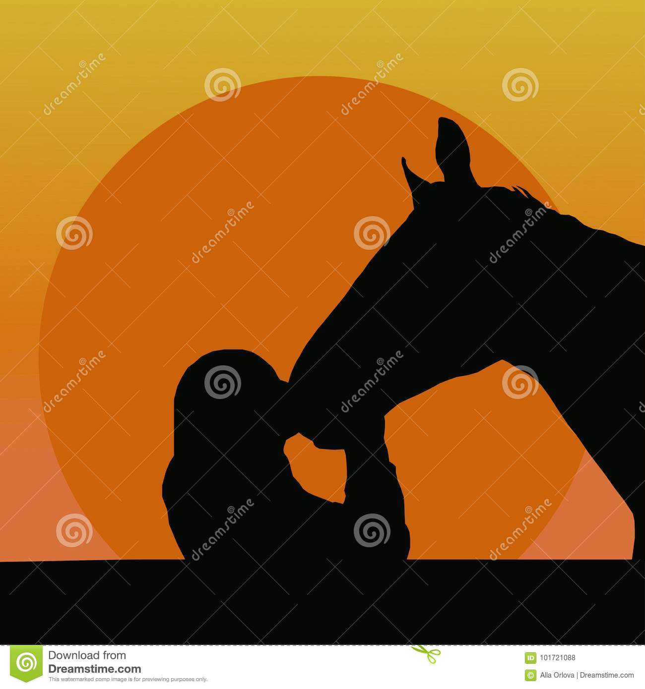 Silhouettes of a girl kissing a horse