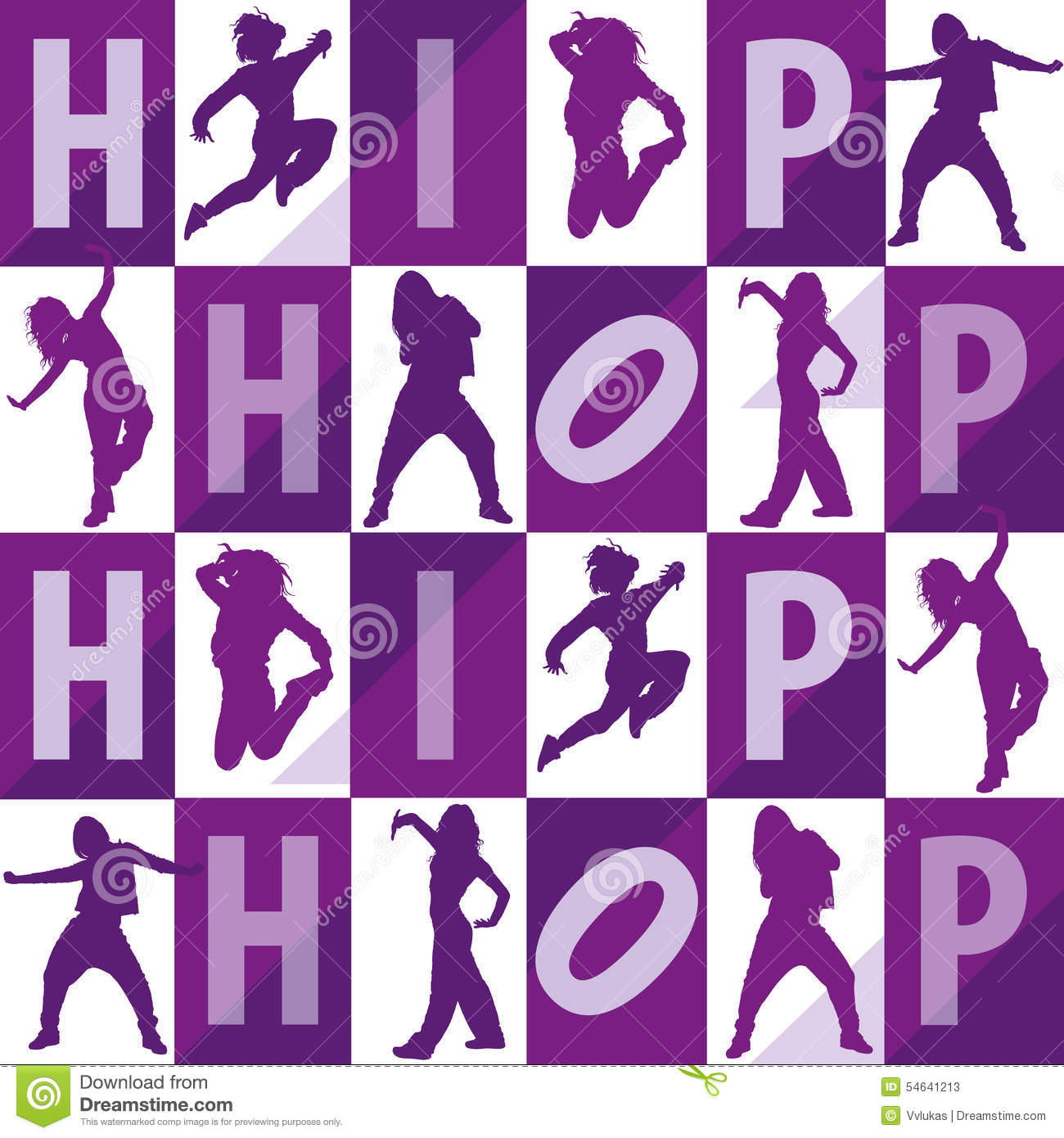 Silhouettes Of Girls Dancing Hip Hop Stock Illustration ...