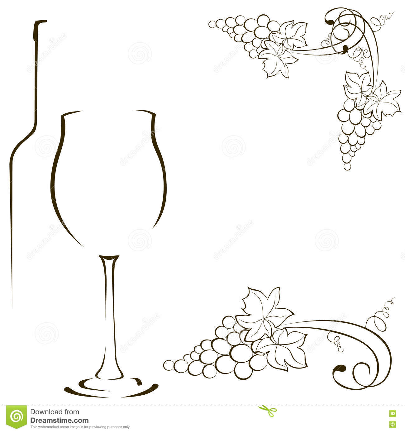 Line Drawing Grapes : Silhouettes of glasses and bottles wine bunch