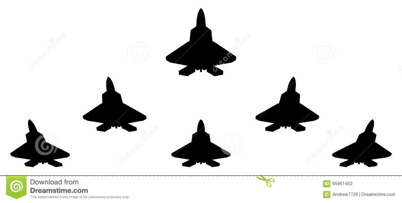 silhouettes of group f 22 fighter stock illustration