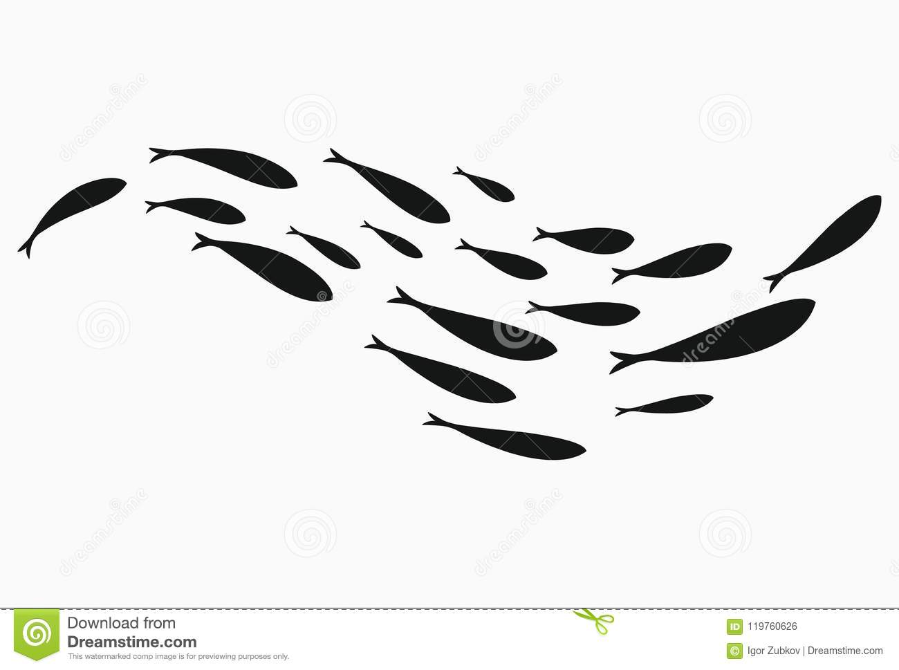 Silhouettes Of Groups Of Sea Fishes Colony Of Small Fish