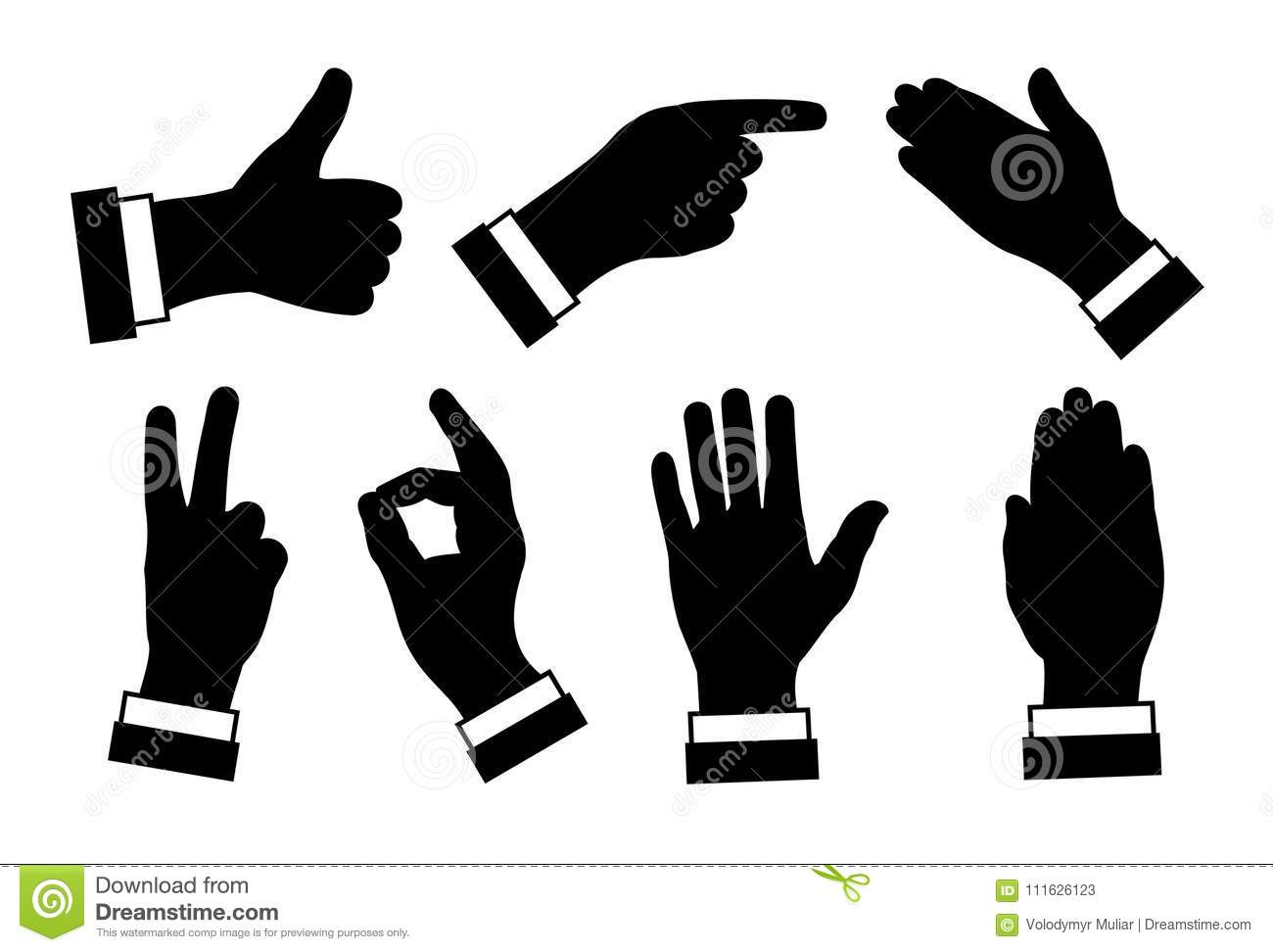 Silhouettes Of Hands Different Signs And Symbols Black Image O