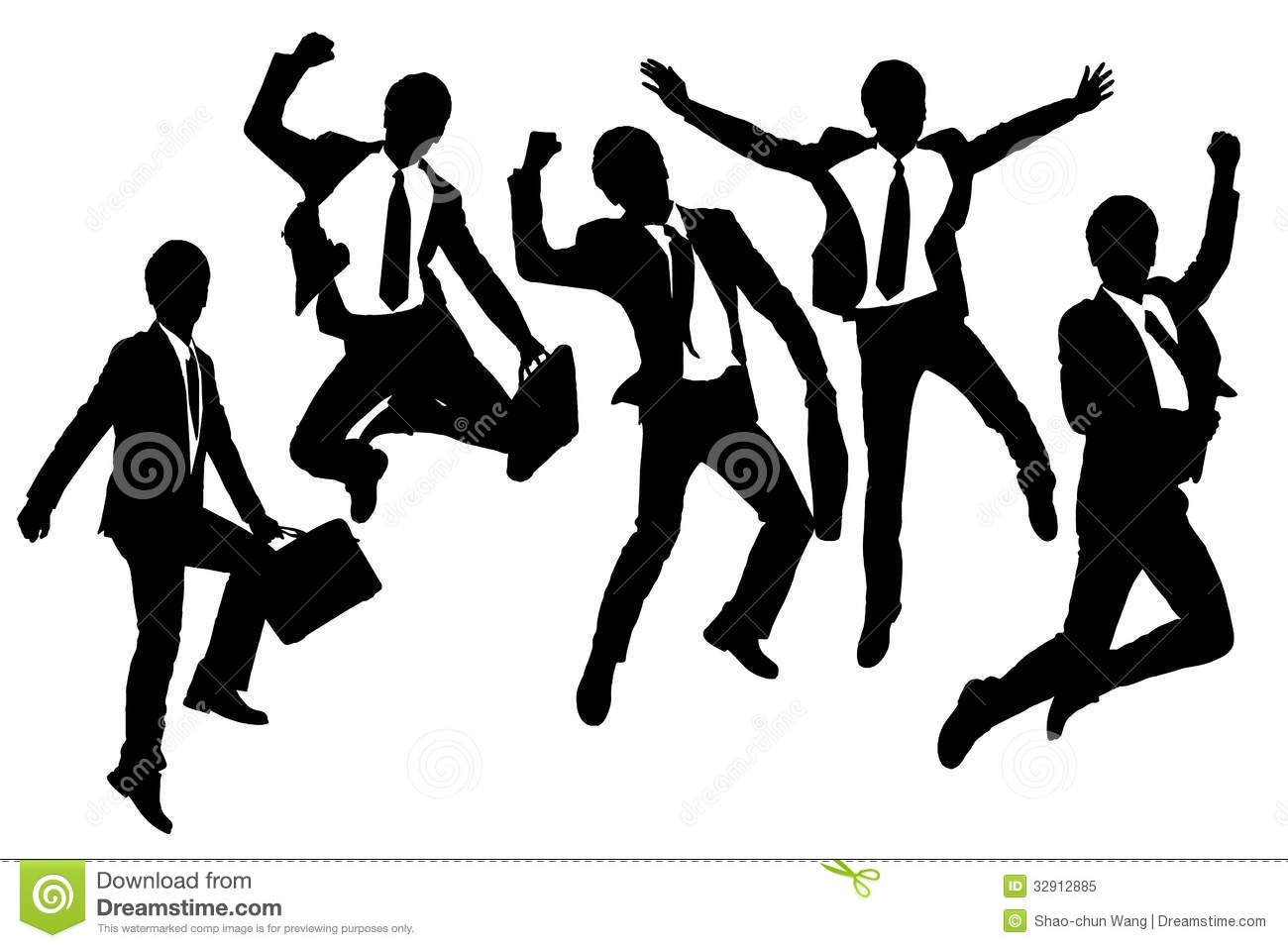 Running Man In Suit Silhouette Silhouettes of happy jump and