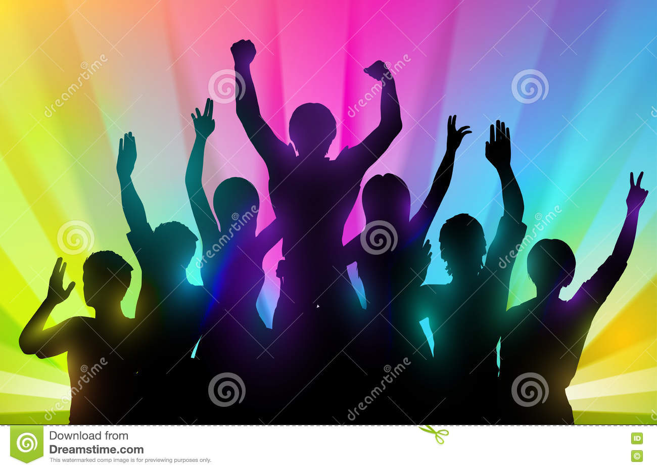 silhouettes of happy people with hands up on color background stock vector image 71478182. Black Bedroom Furniture Sets. Home Design Ideas