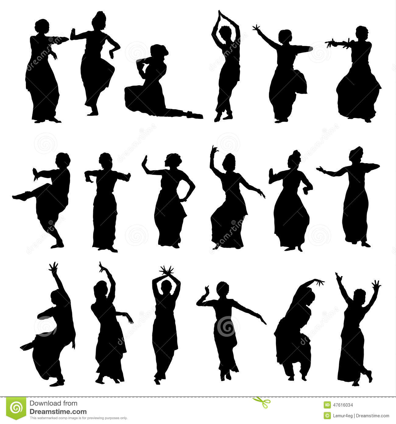Silhouettes indian dancers