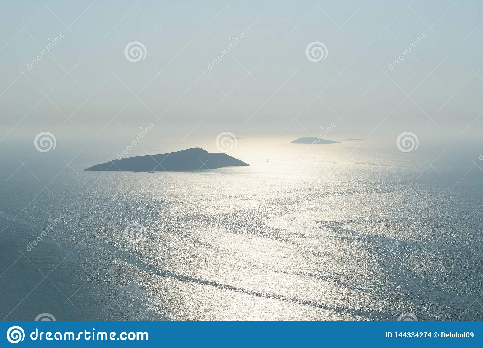 Silhouettes of Islands in the Aegean sea, Rhodes, Greece