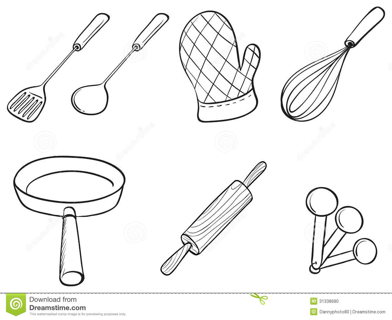 Silhouettes Of Kitchen Utensils Stock Vector Illustration Of Ladle