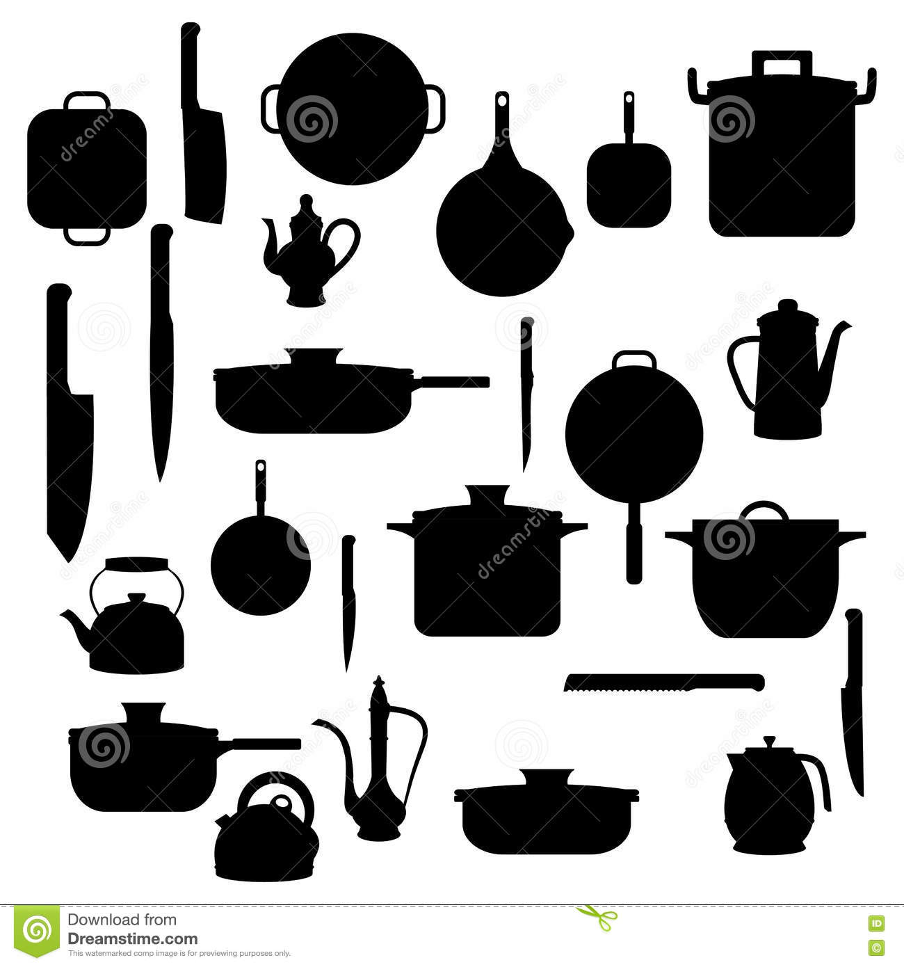 Silhouettes of kitchenware for background stock vector for Articulos cocina online