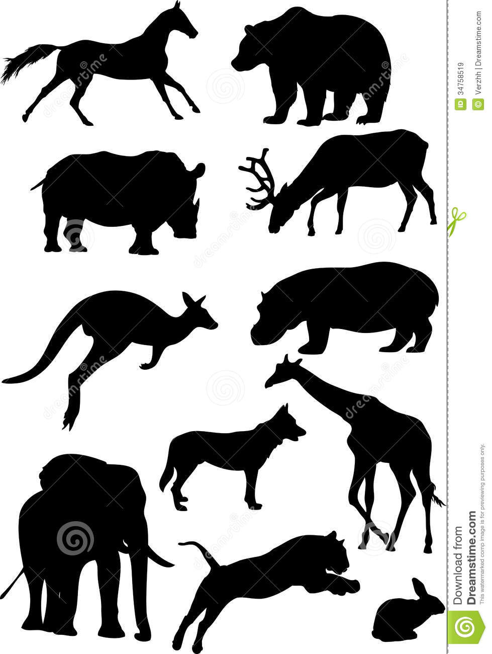 Silhouettes of mammal stock vector. Image of illustrations ... Mammals Clipart Black And White