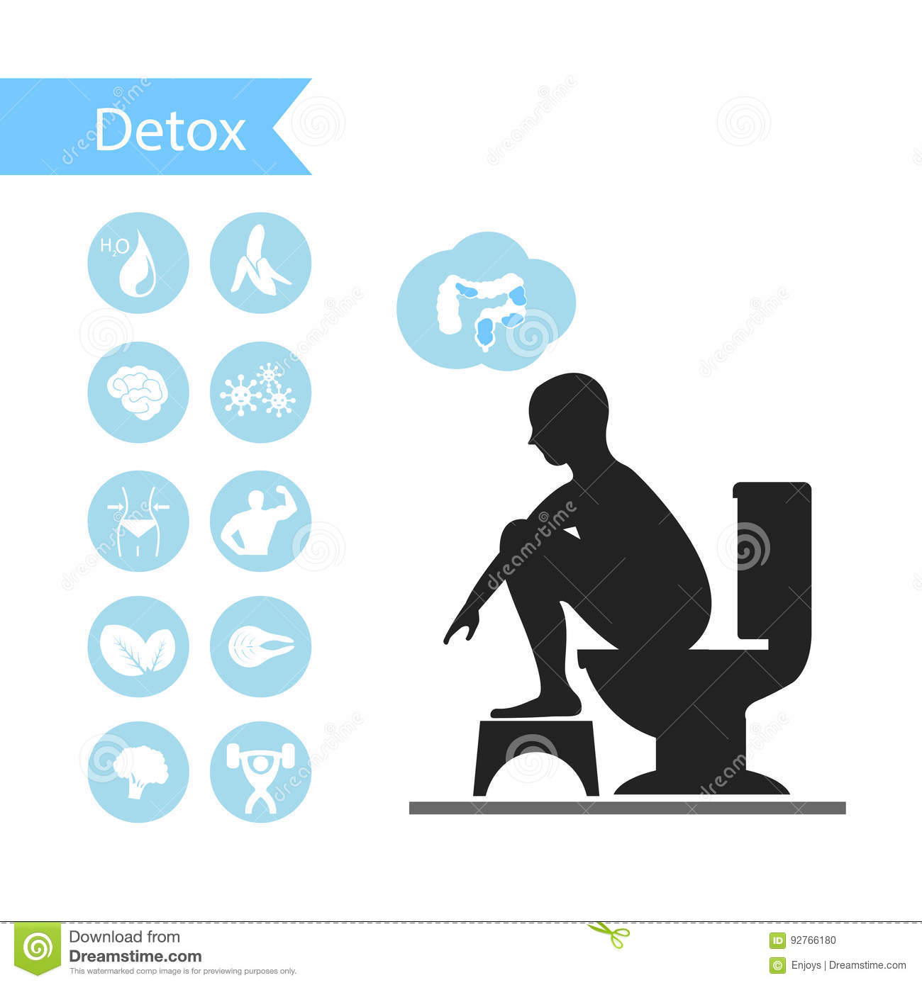 silhouettes man sitting on a toilet with detox icons stock illustration image 92766180. Black Bedroom Furniture Sets. Home Design Ideas