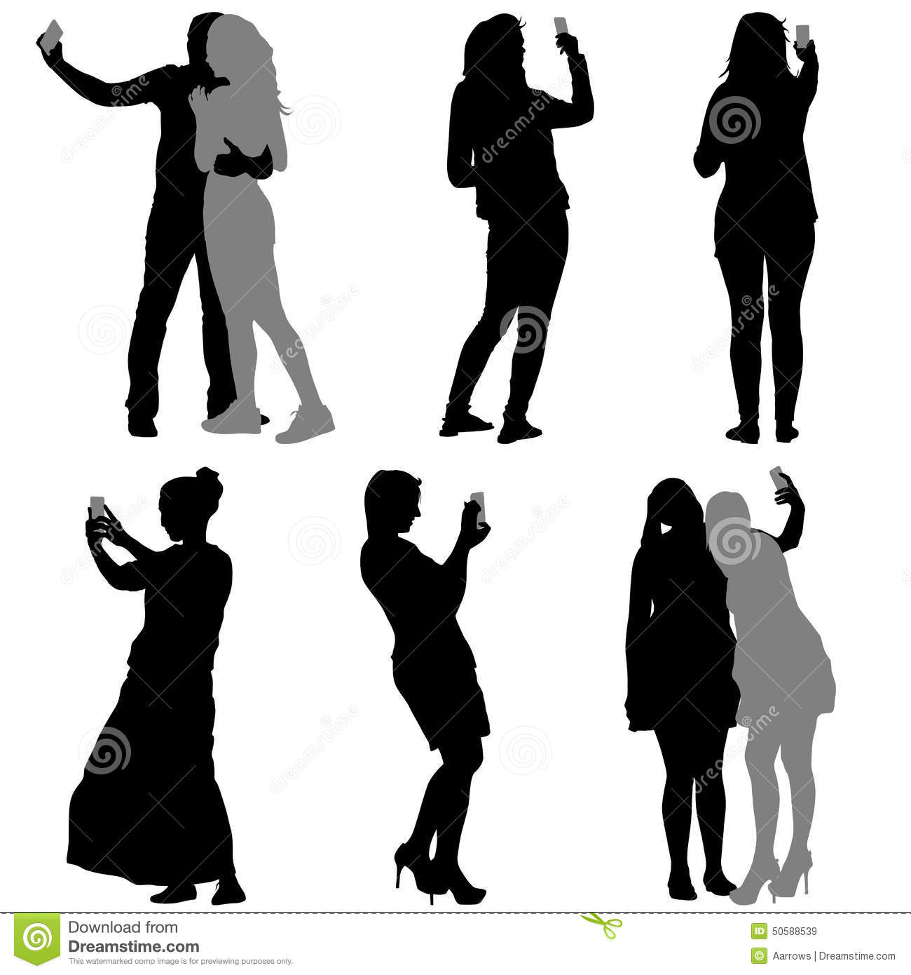 Silhouettes Man Taking Selfie With Smartphone On White ...