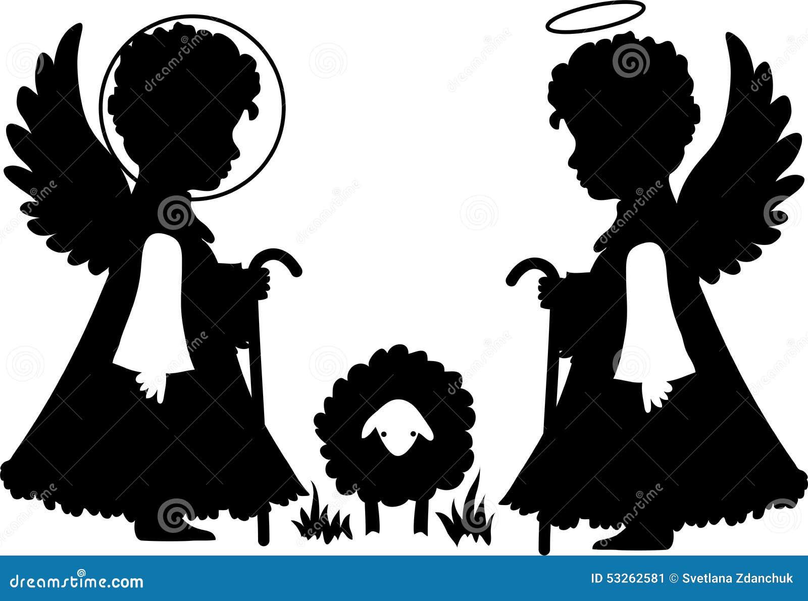 Silhouettes mignonnes d anges réglées