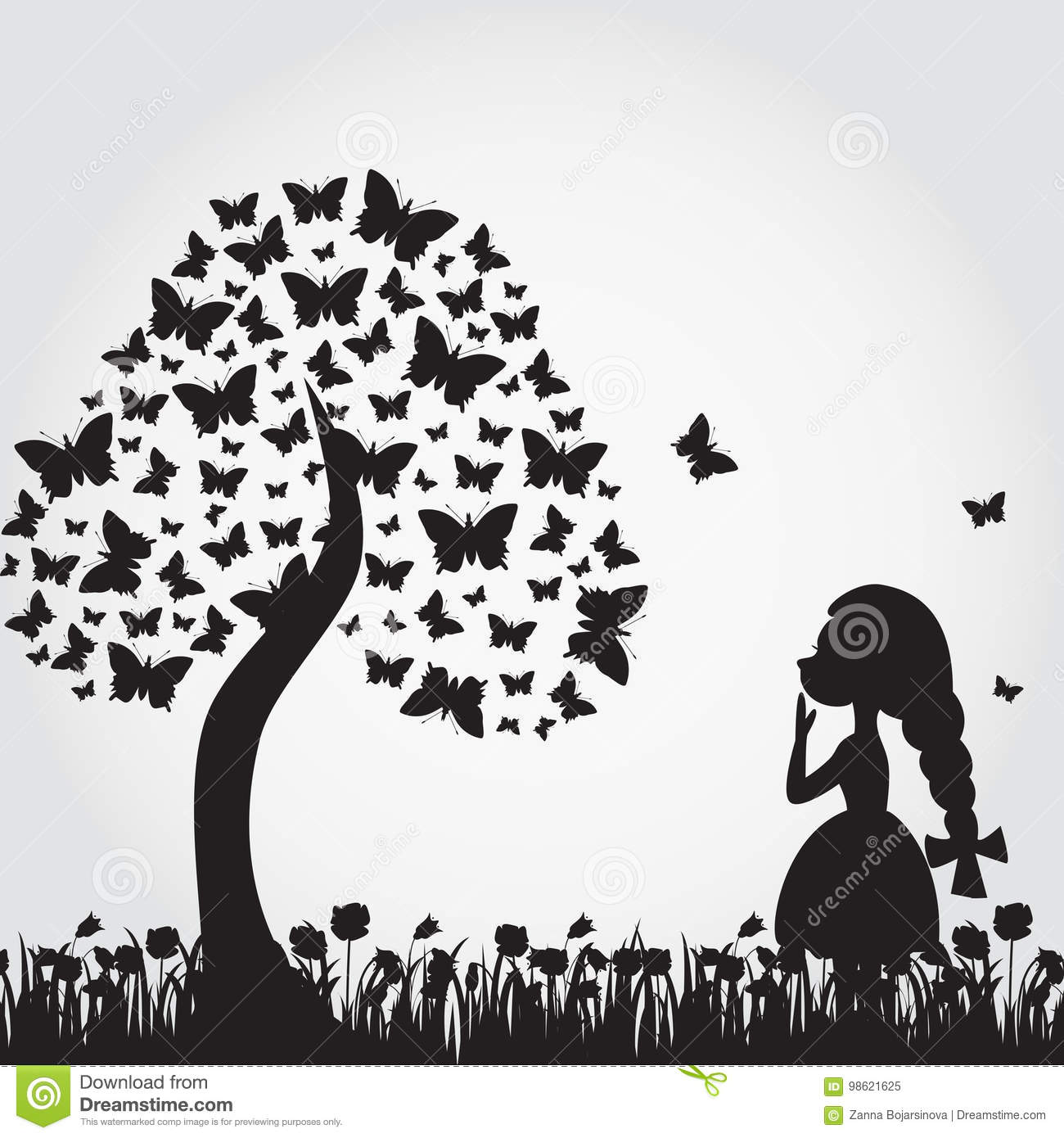 Silhouettes of miracle tree from butterflies and girl.