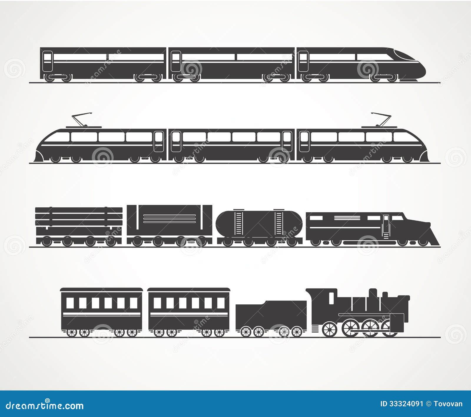 Silhouettes modernes et de vintage de train