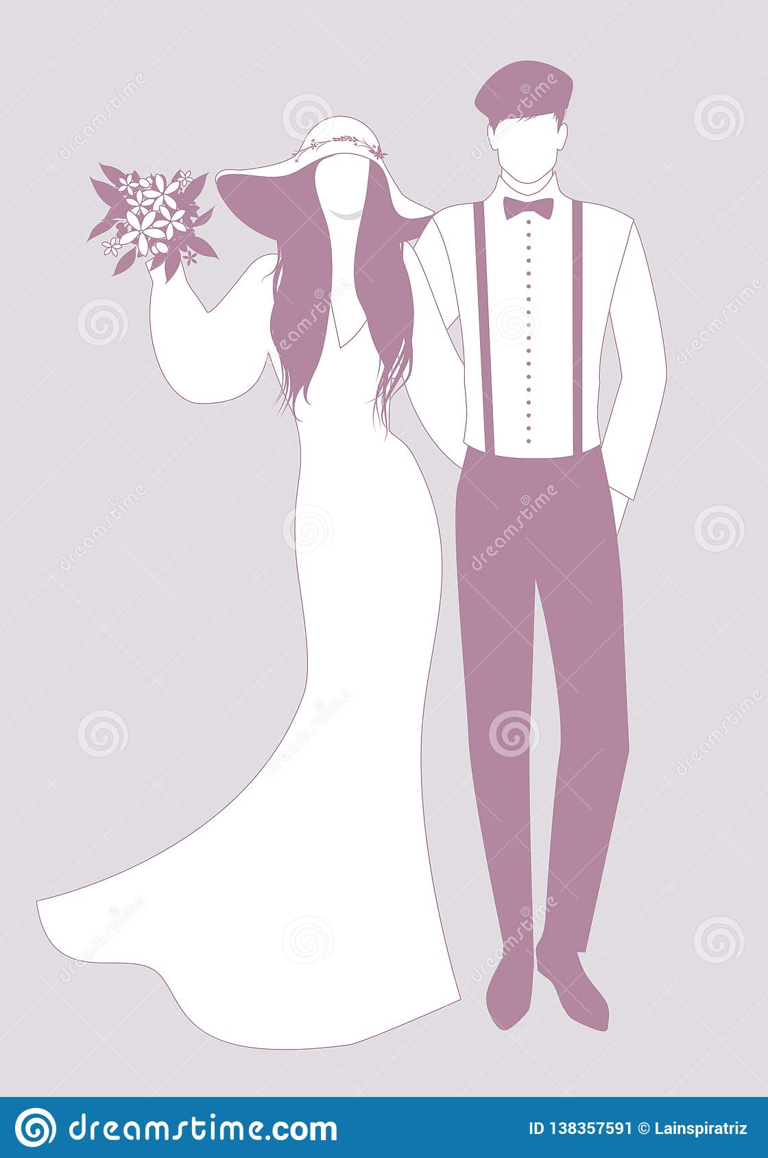Silhouettes Of Newlyweds Couple Wearing Wedding Clothes  Wide
