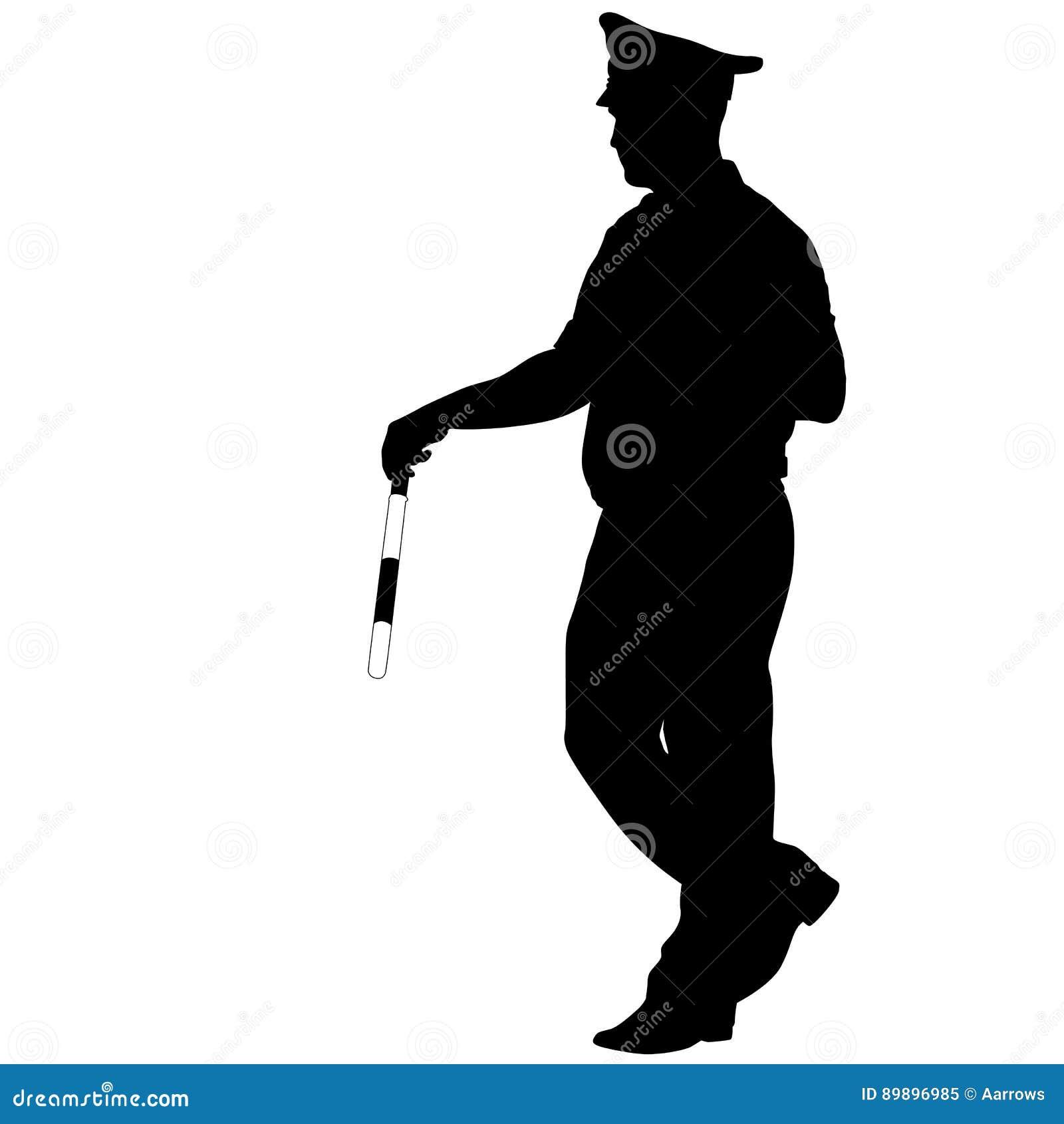 Silhouettes noires de policier avec une tige sur le fond blanc